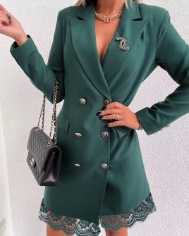 Γυναικείο φόρεμα με δαντέλα 3782 πράσινο