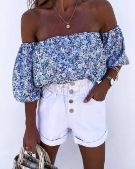 Γυναικεία έξωμη μπλούζα 21329 μπλε