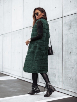 Γυναικείο μακρύ αμάνικο γουνάκι 2553 σκούρο πράσινο