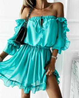 Γυναικείο έξωμο φόρεμα 3740 τυρκουάζ