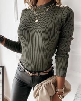 Γυναικεία μπλούζα με χρυσά κουμπιά 4055 χακί