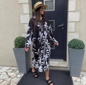 Γυναικείο μακρύ πουκάμισο-μπλουζοφόρεμα 55930 μαύρο