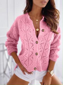 Γυναικεία ζακέτα με κουμπιά 8060 ροζ