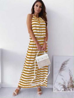 Γυναικείο μακρύ φόρεμα ριγέ 12282  κίτρινο