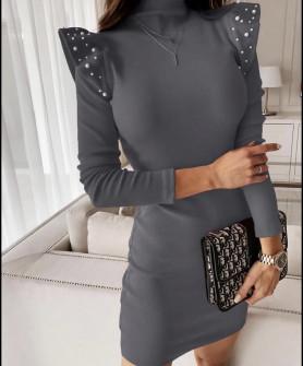 Φόρεμα με πέρλες 5443 γκρι