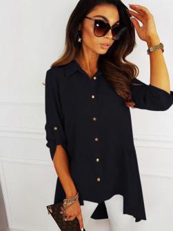 Γυναικείο ασύμμετρο πουκάμισο 5220 μαύρο