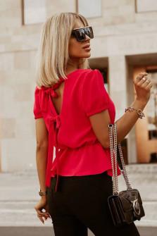 Γυναικεία μπλούζα με ανοιχτή πλάτη 5871 κόκκινη