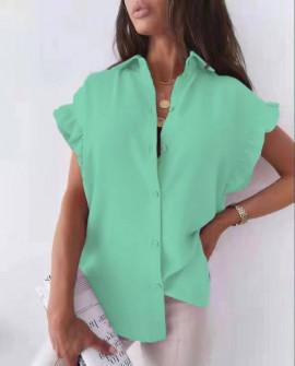Γυναικείο χαλαρό πουκάμισο 54991 πράσινο