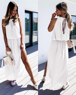 Μακρύ χαλαρό φόρεμα 5171 άσπρο