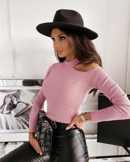 Γυναικεία μπλούζα με άνοιγμα στον ώμο 5436 ροζ