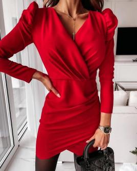 Γυναικείο φόρεμα με φουσκωτό μανίκι 8043
