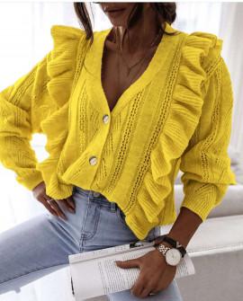 Γυναικεία εντυπωσιακή ζακέτα 8935 κίτρινη