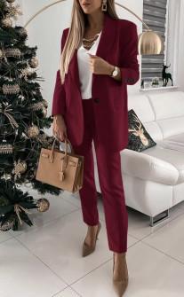 Γυναικείο σετ παντελόνι και σακάκι με φόδρα 5478 μπορντό