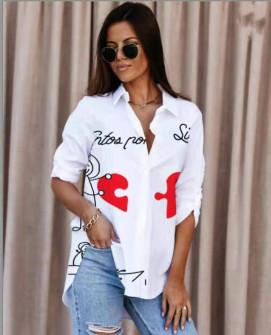 Γυναικείο πουκάμισο με στάμπα 548206