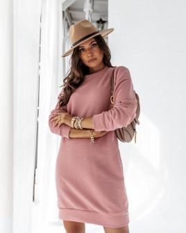 Γυναικείο μπλουζοφόρεμα με άνοιγμα στην πλάτη 13862 ροζ