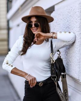 Γυναικεία μπλούζα με χρυσά κουμπιά 5375 άσπρη