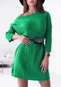 Γυναικείο μπλουζοφόρεμα με ζώνη τσάντα 88077 πράσινο