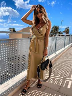 Γυναικείο φόρεμα σατέν 5160 καμηλό