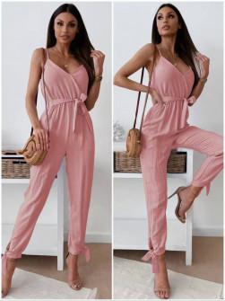 Γυναικεία μονόχρωμη ολόσωμη φόρμα 5773 ροζ