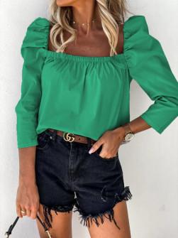 Γυναικεία μπλούζα με φουσκωτό μανίκι 8568 πράσινη