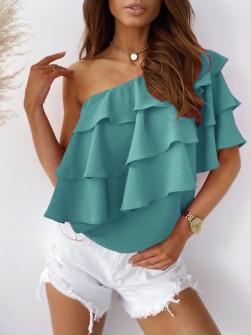 Γυναικεία έξωμη μπλούζα 5121 τυρκουάζ
