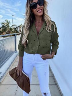 Γυναικείο πουκάμισο πουά 5242 σκούρο πράσινο