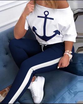 Γυναικείο σετ με άγκυρα 2084 άσπρο/σκούρο μπλε