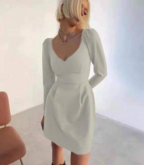 Γυναικείο φόρεμα με βαθύ ντεκολτέ 7126 γκρι