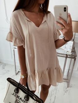 Γυναικείο χαλαρό μπλουζοφόρεμα 5110 μπεζ
