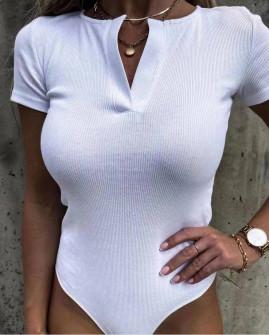 Γυναικείο μονόχρωμο κορμάκι 5704 άσπρο
