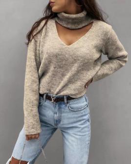 Γυναικείο εντυπωσιακό πουλόβερ 8164 μπεζ