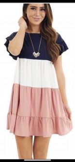 Дамска трицветна рокля с къс ръкав 3382 корал