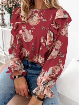 Дамска блуза на цветя 8570 червена