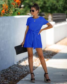 Γυναικεία ολόσωμη φόρμα με ζώνη κορδέλα 5085 μπλε