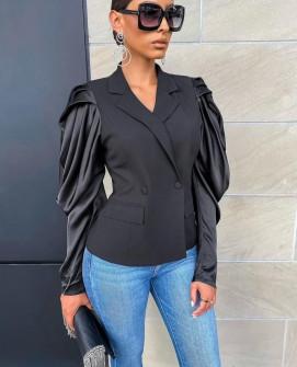 Γυναικείο σακάκι με σατέν μανίκια 21020
