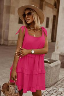 Γυναικείο κοντό φόρεμα με δετές τιράντες 5872 φούξια