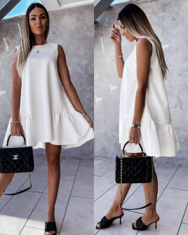 Γυναικείο χαλαρό φόρεμα 5684 άσπρο