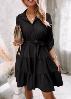 Γυναικείο φόρεμα με ζώνη 5971 μαύρο