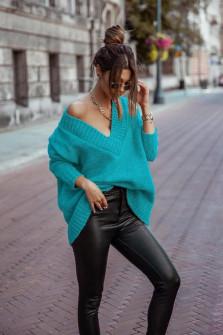 Γυναικείο χαλαρό πουλόβερ 9530 τυρκουάζ