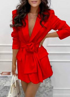 Γυναικείο σακάκι με φόδρα και ζώνη 5906 κόκκινο