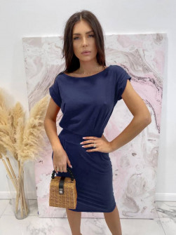 Γυναικείο απλό φόρεμα 8152 σκούρο μπλε