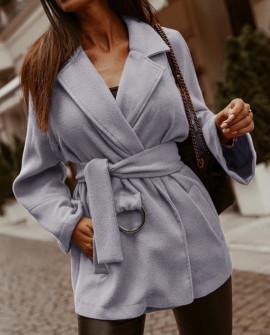 Γυναικείο παλτό από μαλακό ύφασμα με φόδρα 5363 γκρι