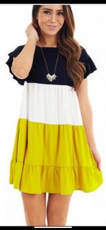Дамска трицветна рокля с къс ръкав 3382 жълта