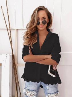 Γυναικείο πουκάμισο με δαντέλα 21069 μαύρο