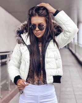 Γυναικείο μπουφάν με γουνάκι στην κουκούλα 81996 άσπρο