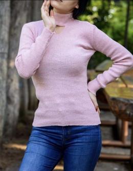 Γυναικεία μπλούζα ημιζιβάγκο 81025 ροζ