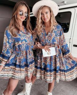 Γυναικείο φόρεμα με print 21789 μπλε