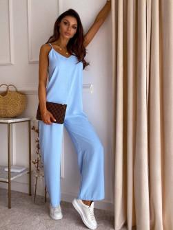 Γυναικεία χαλαρή ολόσωμη φόρμα 14687 γαλάζια