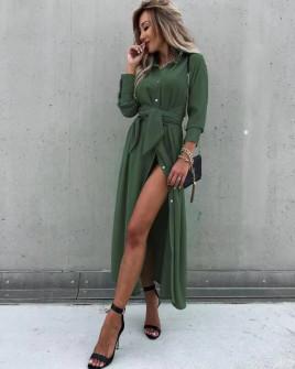 Γυναικείο μακρύ φόρεμα 5999 σκούρο πράσινο