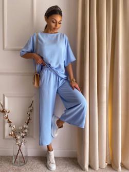 Γυναικείο χαλαρό σετ 14557 γαλάζιο